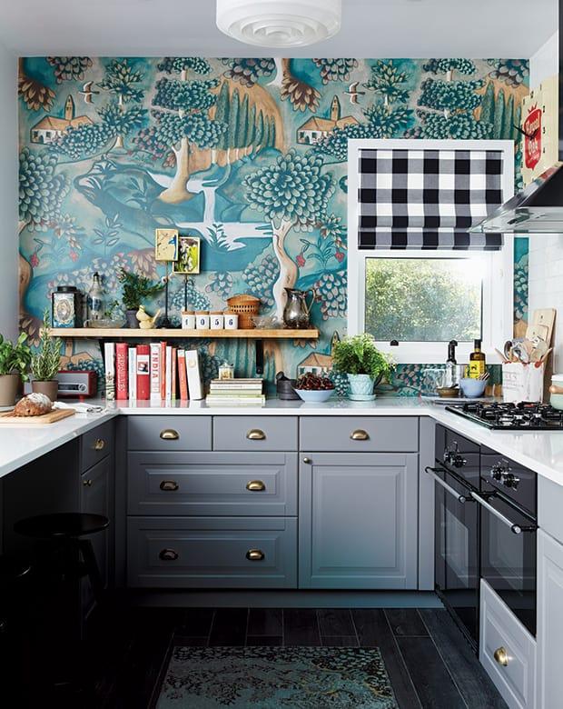 Erdei mintás tapéta konyhába