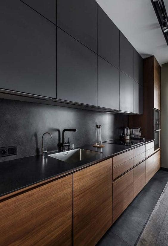 Fekete-barna egysoros konyha