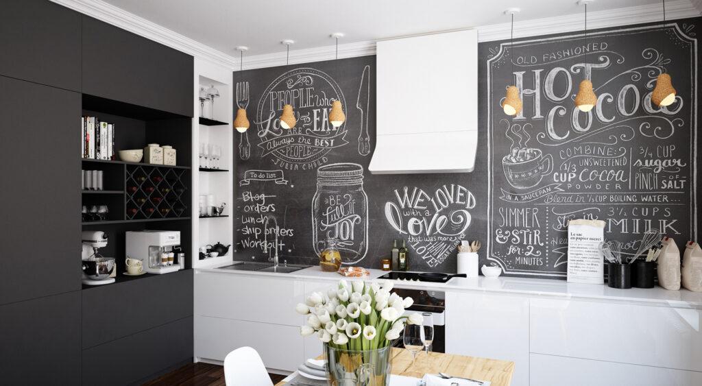 Egész falnyi táblafesték konyhában