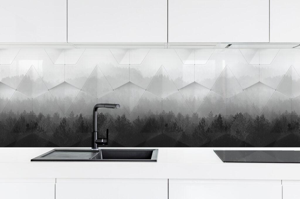 Geometriai hatású konyhai üvegpanel