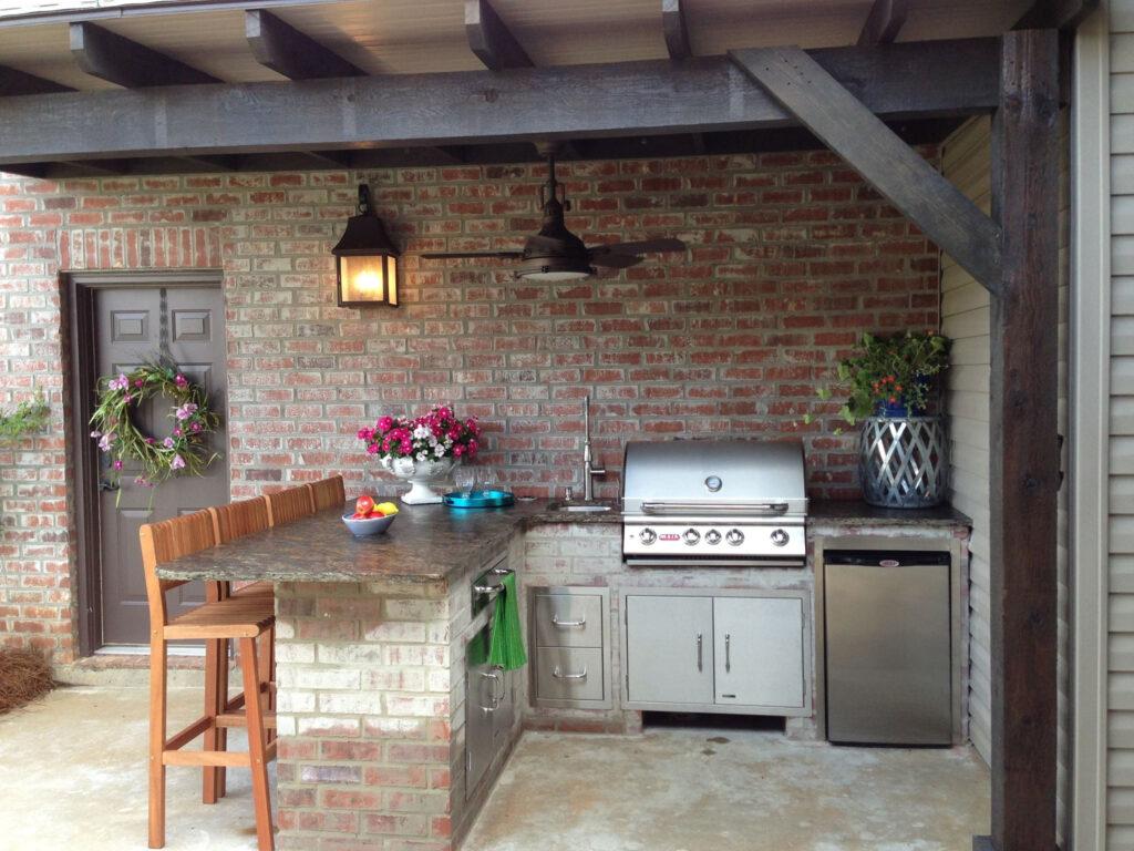 Időjárásálló kerti konyha kőből