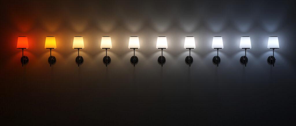 Színhőmérséklet skála vizuális összehasonlítása lámpákkal