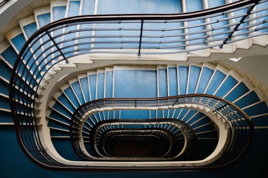 A lépcső és az orsótér