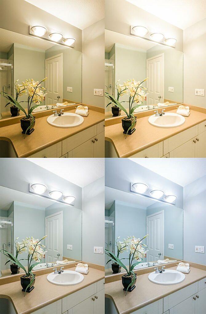 Fürdőszoba megvilágítása különböző színhőmérsékletű fényekkel