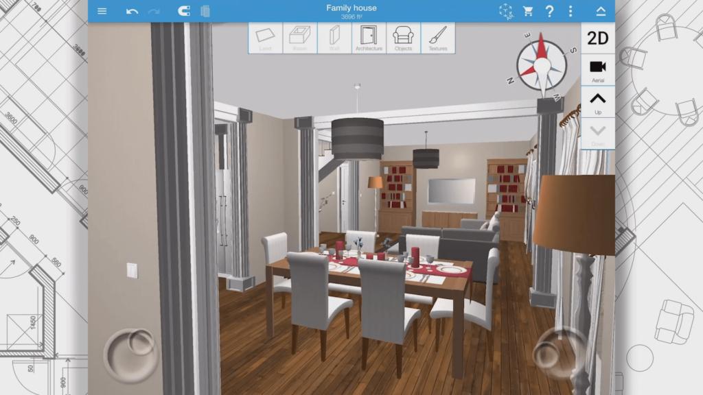 Home Design 3D tervező felület